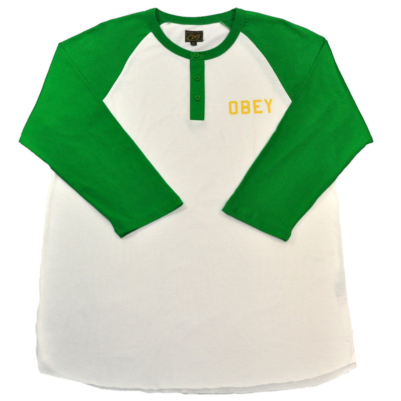 OBEY - Playoff Men's Raglan, Natural/Kelly Green - The Giant Peach