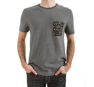 Imaginary Foundation - Chalkboard Men's Pocket Tee, Stripe - The Giant Peach