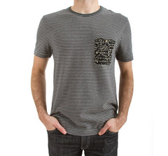 Imaginary Foundation - Chalkboard Men's Pocket Tee, Stripe - The Giant Peach - 1