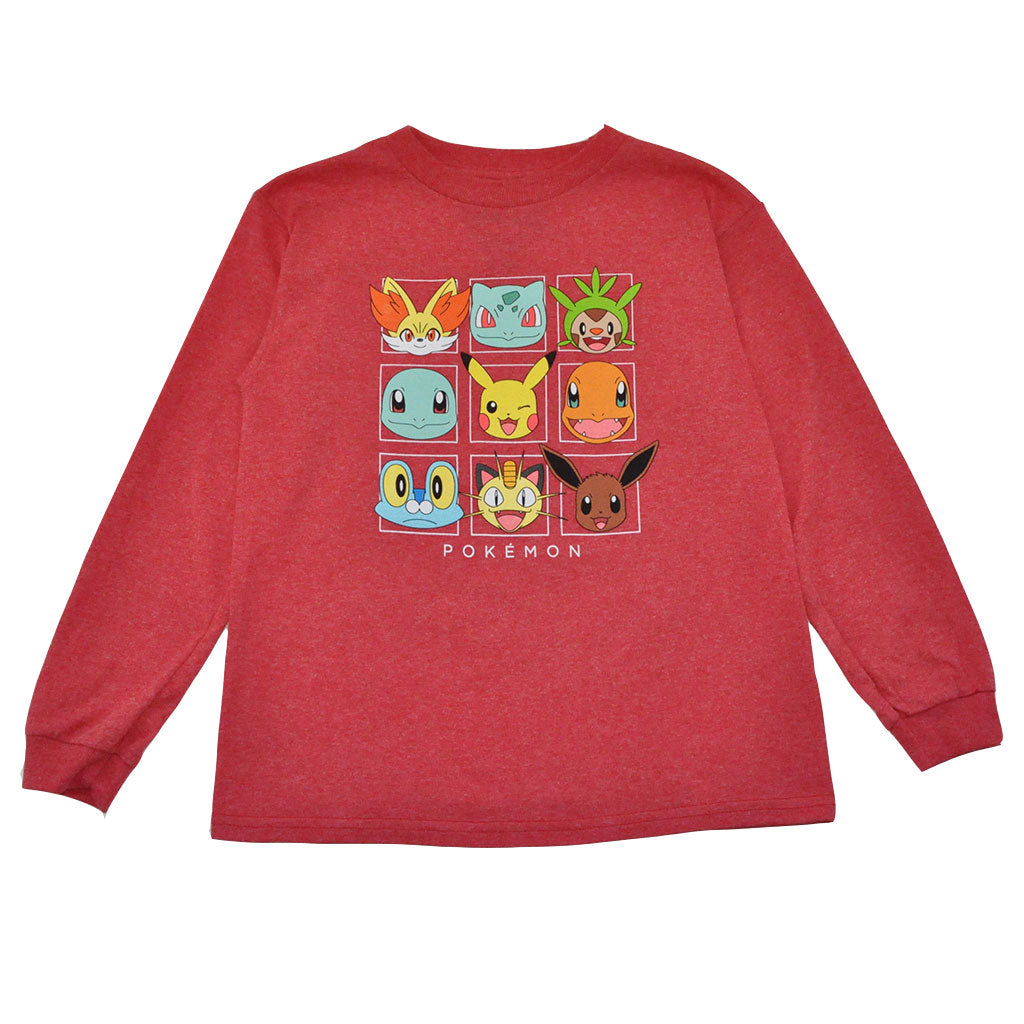 Pokemon - Line Up L/S Toddler Tee, Heather Red - The Giant Peach