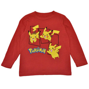 Pokemon - Three Panel Pikachu L/S Toddler Tee, Red - The Giant Peach
