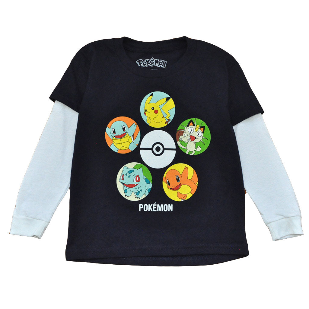 Pokemon - Squad L/S Toddler Tee, Navy/White - The Giant Peach