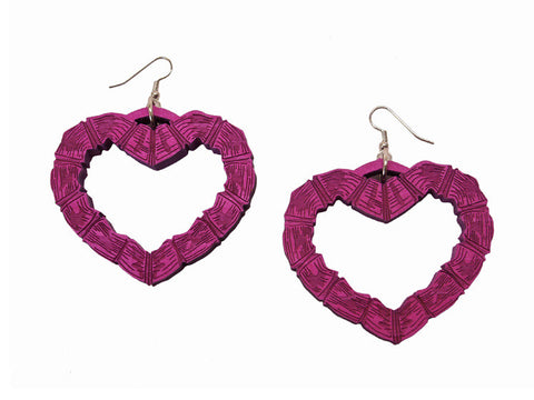 GoodWood NYC - Bamboo Heart Wooden Earrings, Pink