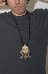 GoodWood NYC - Combat Skull Pendant, Black/Natural - The Giant Peach - 3