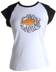 Psychokinetics - Ladies Raglan Shirt, White w/Black Sleeves - The Giant Peach
