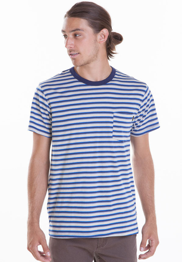 OBEY - Randall Slim Fit Pocket Men's Tee, Blue - The Giant Peach