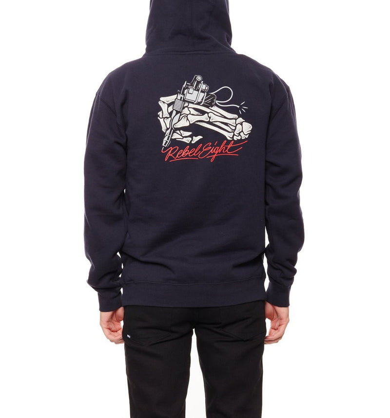 REBEL8 - Death Zap Men's Pullover Hoodie, Navy - The Giant Peach
