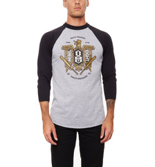 REBEL8 - Makers And Breakers Men's Raglan Shirt, Heather/Black - The Giant Peach