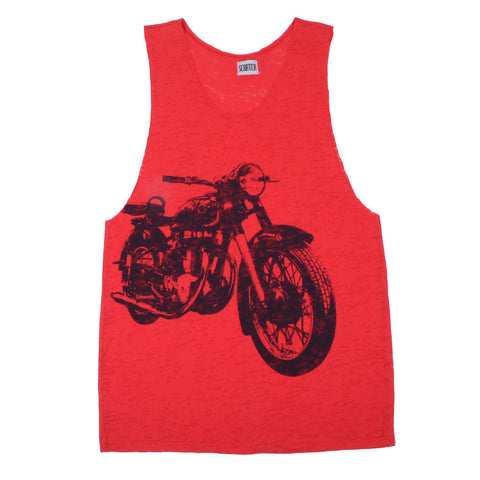 Scratch -  Born to be Wild Women's Sleeveless Burnout Tank, Red