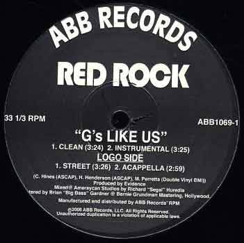 "Red Rock - ""G's Like Us"" prod. by Evidence, 12"" Vinyl"