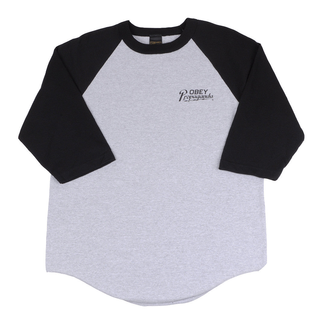 OBEY - Divisional Men's Raglan, Heather Grey/Black - The Giant Peach