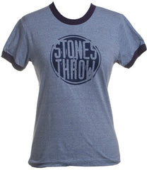 Stones Throw - Women's Distressed Crew RINGER Shirt, Heather Blue/Navy - The Giant Peach