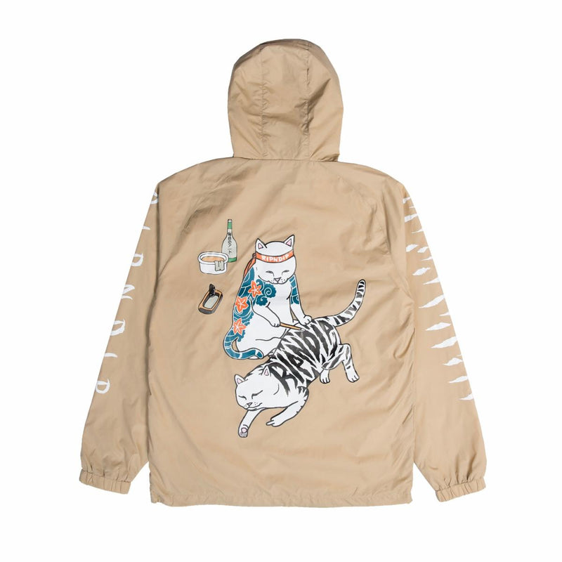 RIPNDIP - Tattoo Nerm Men's Half Zip Anorak Jacket, Tan