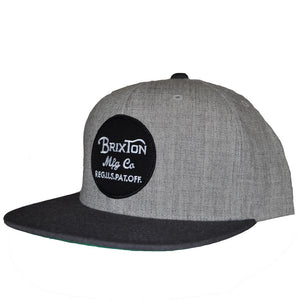 Brixton - Wheeler Men's Snapback Hat, Light Heather Grey/Charcoal - The Giant Peach