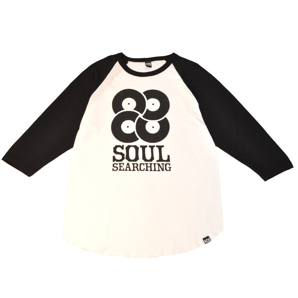 101 Apparel - Soul Searching Men's Baseball Tee, White/Black - The Giant Peach