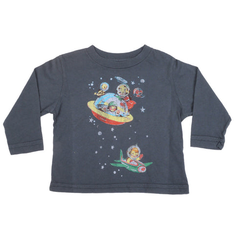 made U look - Space Infant & Toddler L/S Tee, Charcoal Gray