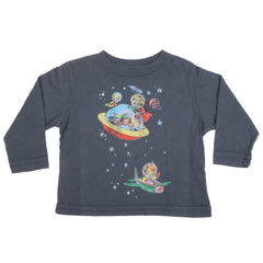 made U look - Space Infant & Toddler L/S Tee, Charcoal Gray - The Giant Peach - 1