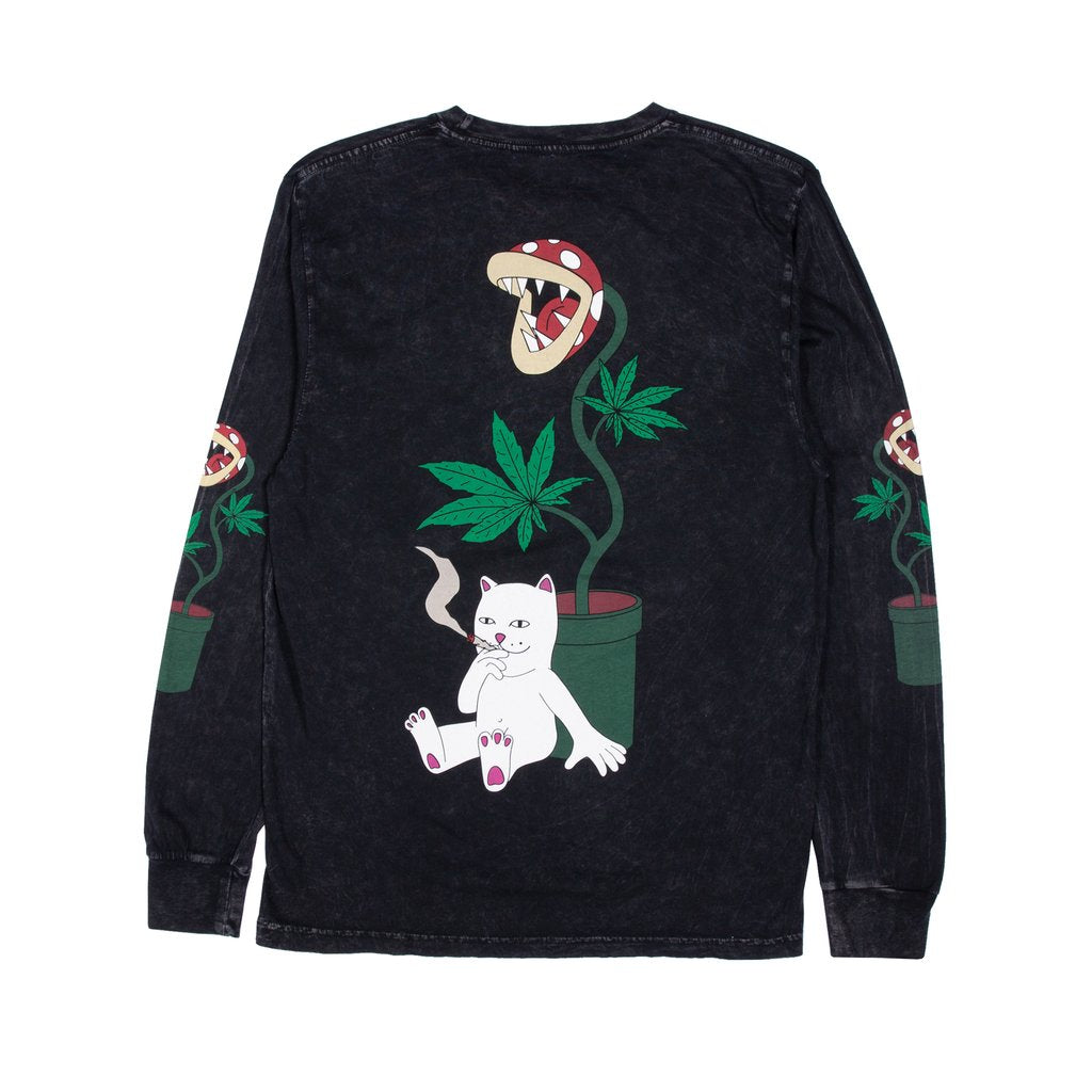 RIPNDIP - Herb Eater Men's L/S Tee, Black Mineral Wash