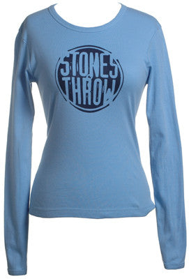 Stones Throw - Women's Distressed Crew Long-Sleeve Shirt, Baby Blue - The Giant Peach