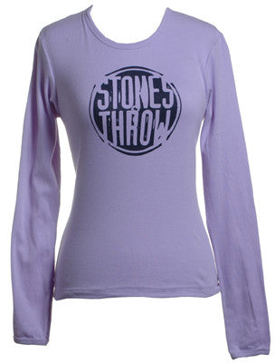 Stones Throw - Women's Distressed Crew Long-Sleeve Shirt, Lavender - The Giant Peach