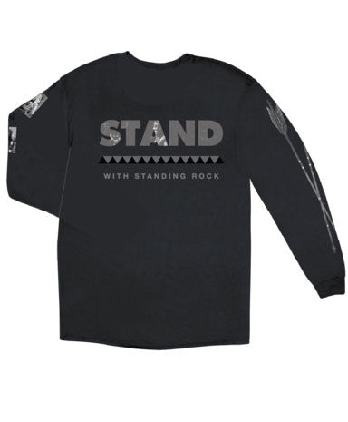 Akomplice - Stand With Standing Rock Men's Crewneck Sweatshirt, Black - The Giant Peach