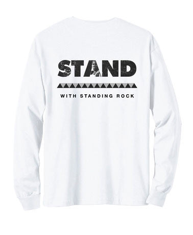 Akomplice - Stand With Standing Rock Men's L/S Tee, White - The Giant Peach