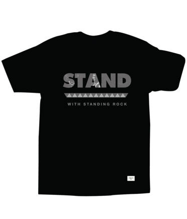 Akomplice - Stand With Standing Rock Men's Tee, Black - The Giant Peach