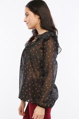 Strawberry Fields Ruffle Chiffon Women's Blouse, Black - The Giant Peach