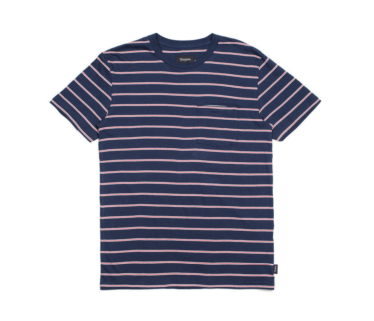Brixton - Hilt Men's S/S Pocket Knit Tee, White/Navy/Red - The Giant Peach