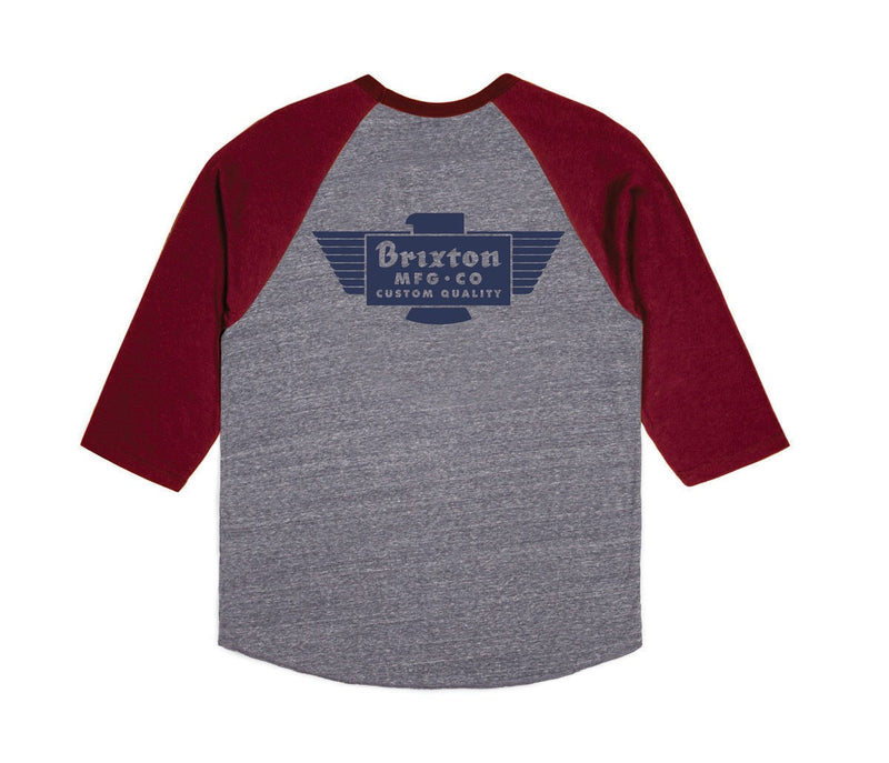 Brixton - Cylinder Men's 3/4 Sleeve Tee, Heather Grey/Burgundy - The Giant Peach