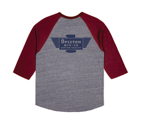 Brixton - Cylinder Men's 3/4 Sleeve Tee, Heather Grey/Burgundy