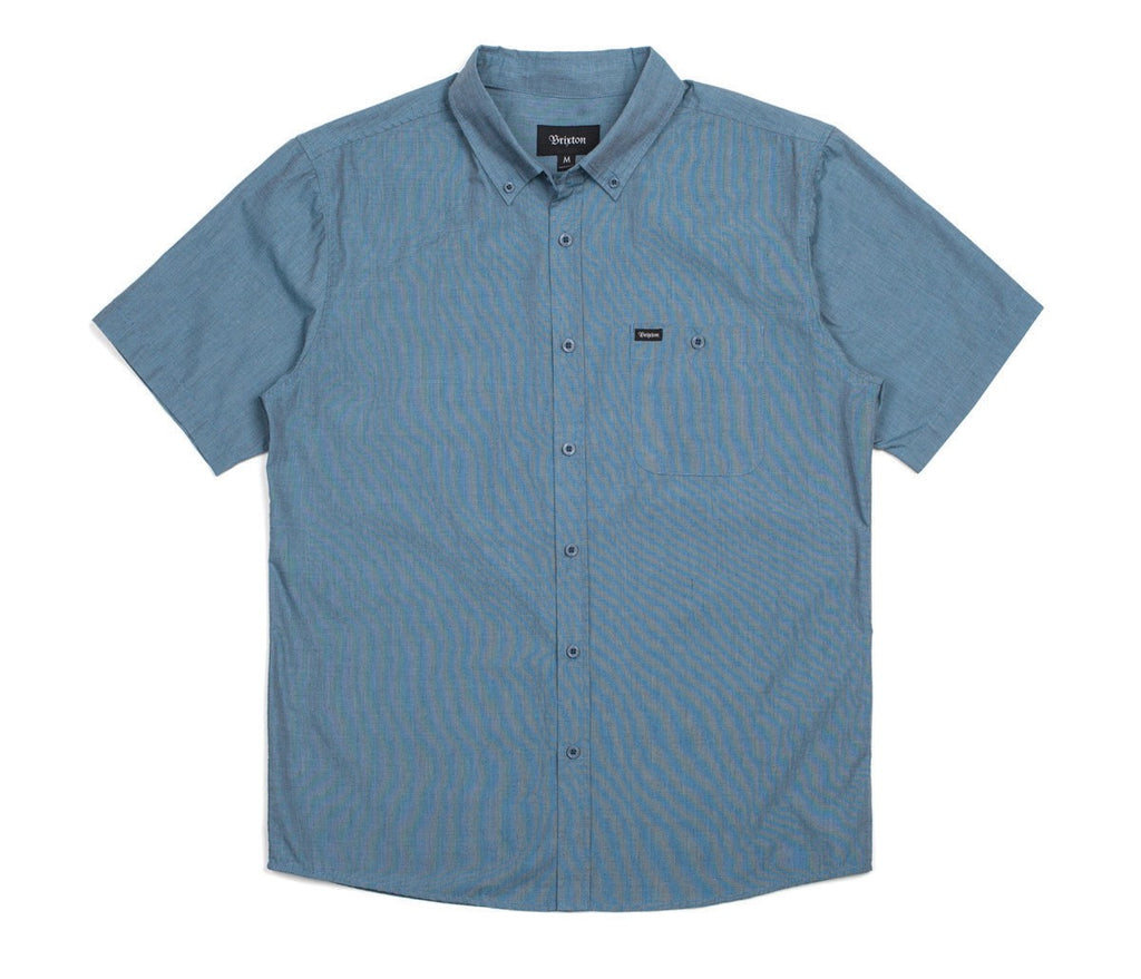 Brixton - Central Men's S/S Woven Shirt, Heather Steel - The Giant Peach