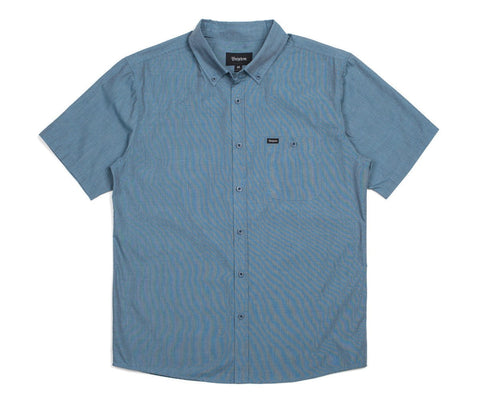 Brixton - Central Men's S/S Woven Shirt, Heather Steel