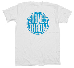 Stones Throw - Summer 2012 Men's Tee, White/Aqua - The Giant Peach