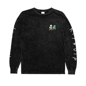 RIPNDIP - Butz Up Men's L/S Tee, Black Mineral Wash
