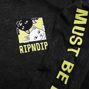 RIPNDIP - Besties Men's L/S Tee, Black Mineral Wash