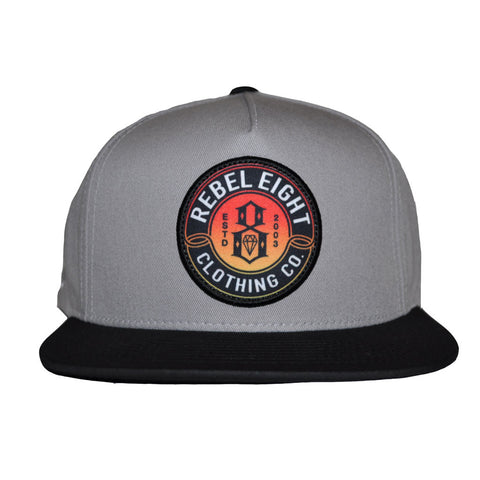 REBEL8 - Sun Burnt Snapback Hat, Grey