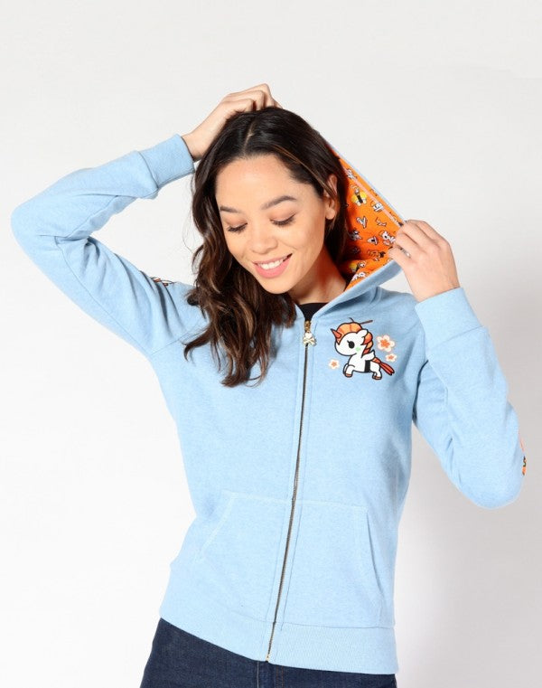 tokidoki - Sushicorno Women's Hoodie, Light Heather Blue
