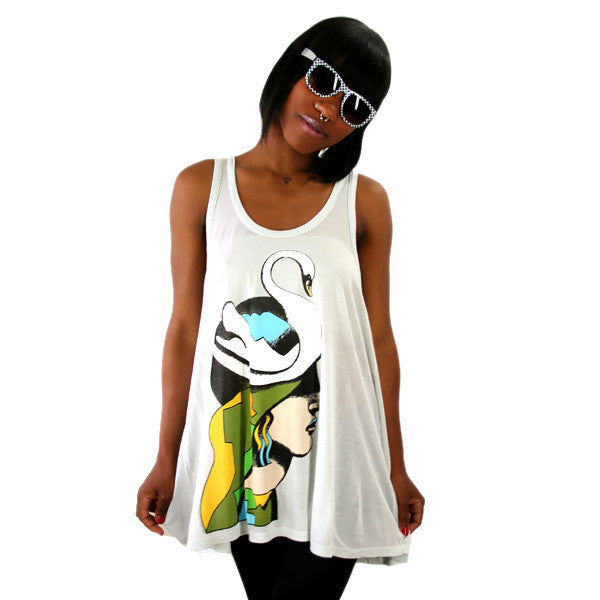 2K Milton Glaser - Swanhead Racer Back Women's Tank Top, Ice Grey - The Giant Peach