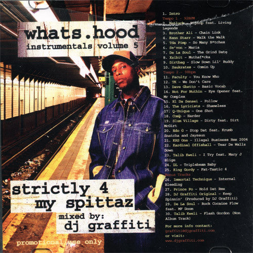 DJ Graffiti - Whats Hood Instrumentals Vol. 5 (Strictly 4 My Spittaz),  CD - The Giant Peach