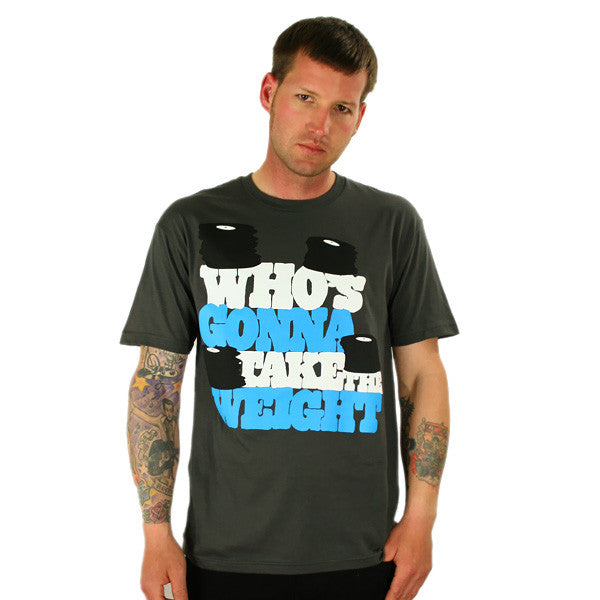 101 Apparel - Who's Gonna Take The Weight Men's Shirt, Charcoal - The Giant Peach