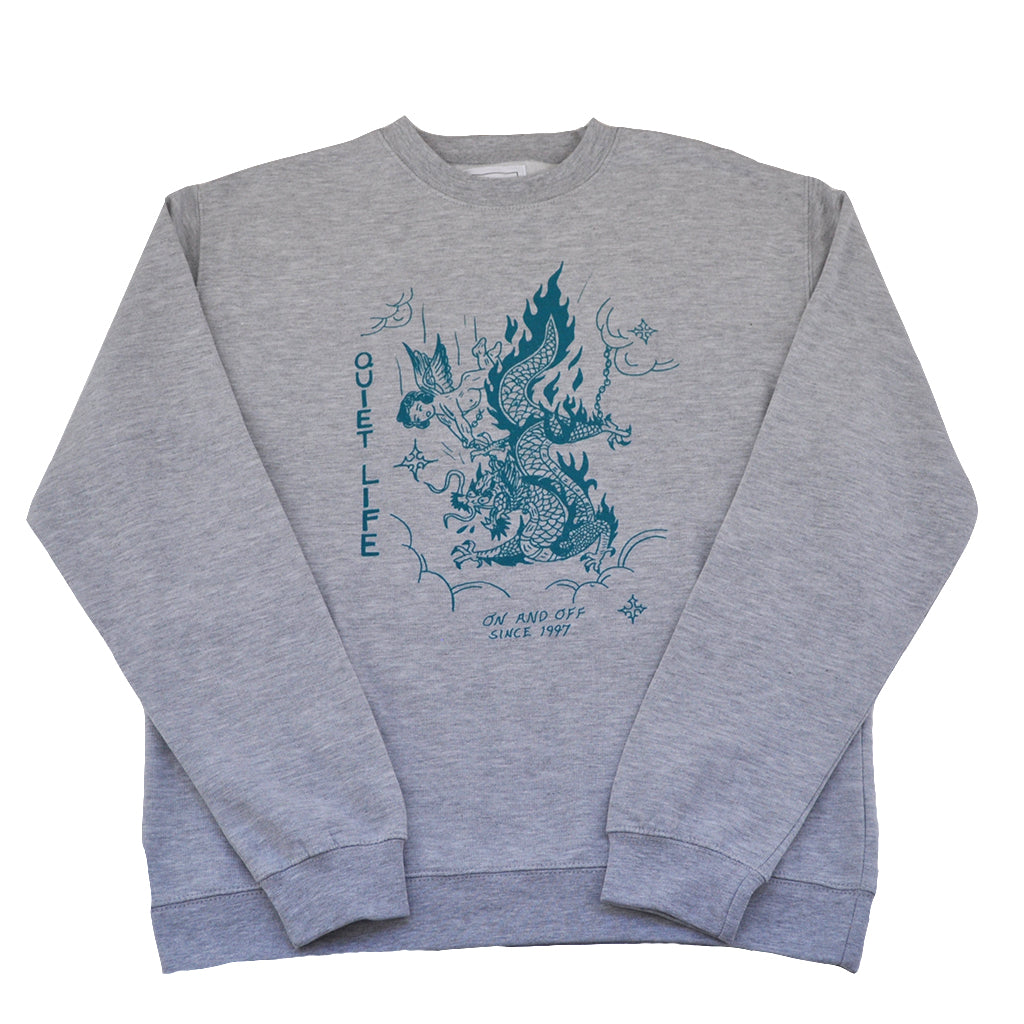 The Quiet Life x Eric Kenney - Bring Me Down Men's Crewneck, Heather Grey - The Giant Peach