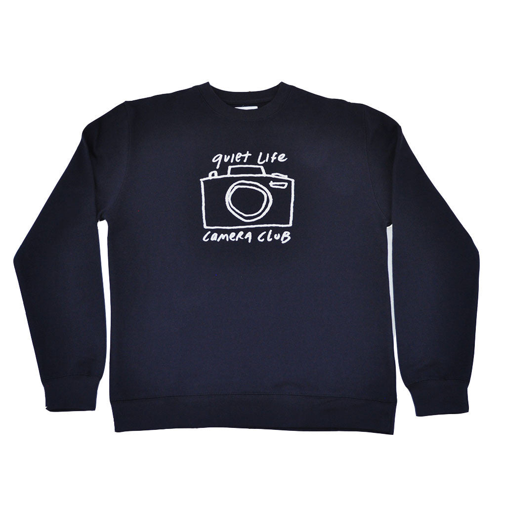 The Quiet Life - Camera Club Men's Crewneck, Navy - The Giant Peach