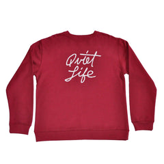 The Quiet Life - Cursive Men's Crewneck, Cardinal - The Giant Peach