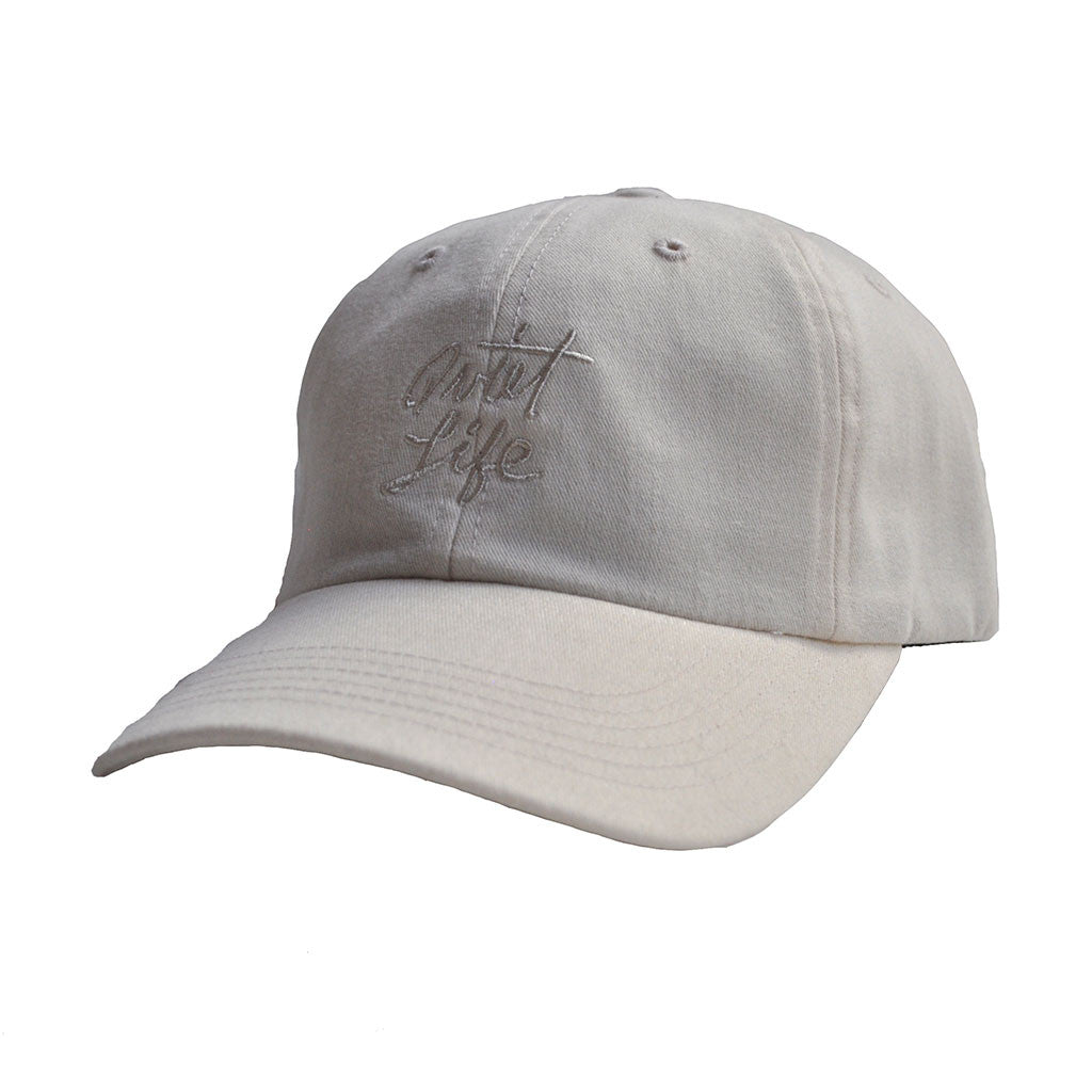 The Quiet Life - Cursive Men's Polo Hat, Natural - The Giant Peach