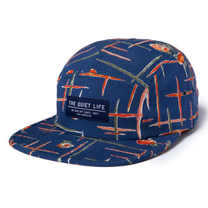 The Quiet Life - Deco 5 Panel Camper Hat, Blue/Orange