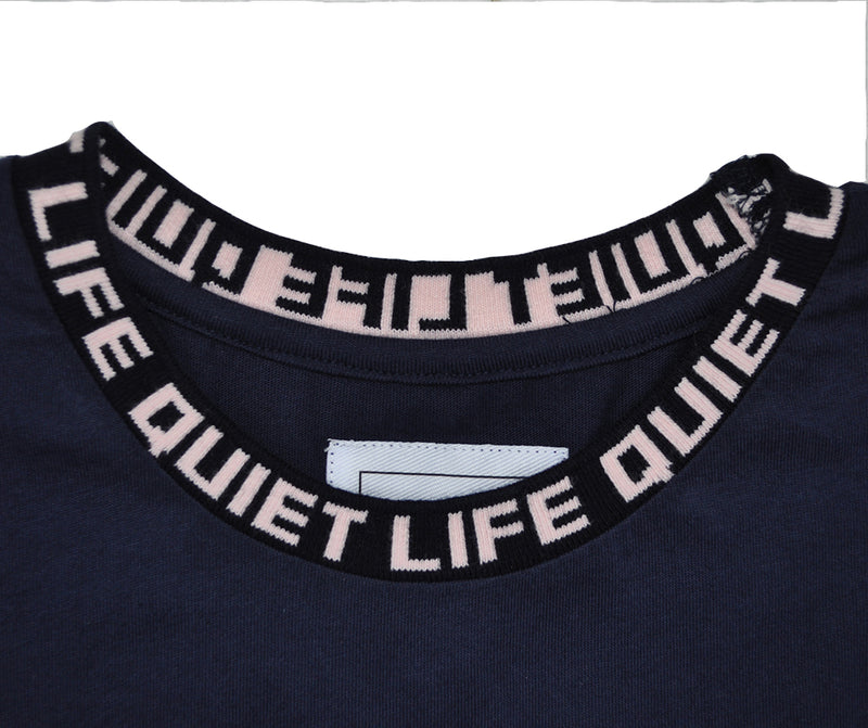 The Quiet Life - Jacquard Men's Crewneck Tee, Navy - The Giant Peach