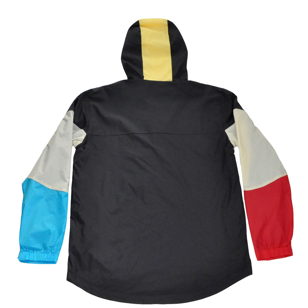 The Quiet Life - Pacific Men's Windbreaker, Black/Red/Blue - The Giant Peach
