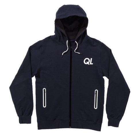 The Quiet Life - Reflective Men's Zip Up Hoodie, Navy