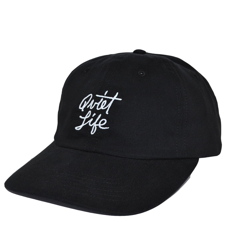 The Quiet Life - Script Men's Polo Hat, Black - The Giant Peach